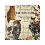 Modern vintage Halloween owl and skull Canvas Print