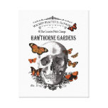 modern vintage Halloween skull and butterflies Stretched Canvas Prints