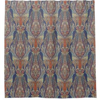 Modern Vintage Kashmir Paisley Shawl Patterned Shower Curtain