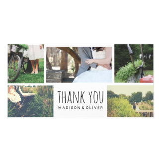 Modern Wedding Thank You Five Photo Collage Customised Photo Card
