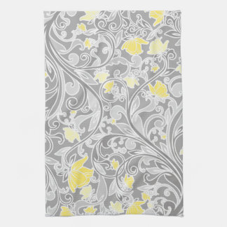 Modern Yellow and Gray Swirly Floral Kitchen Towels