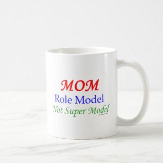 Mom, Role Model, Not Super Model! Basic White Mug