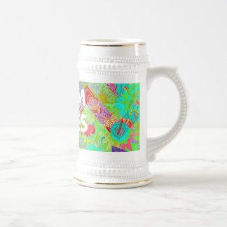MOM RULES Colorful Floral Mothers Day gifts teal Beer Steins