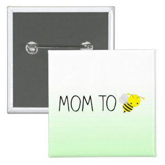 Mom to Be, Cute Bumblebee Green/Yellow 15 Cm Square Badge