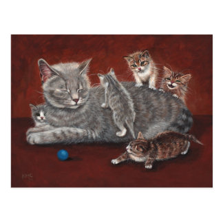 Mommy Cat with Kittens Postcard