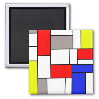 Mondrian style square magnet