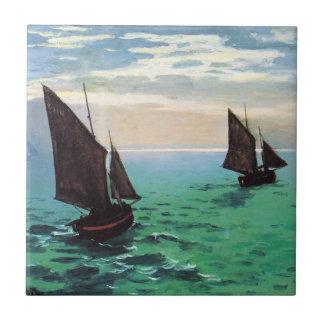 Monet Fishing Boats at Sea Tile