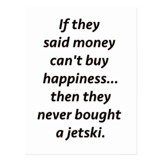 Money Can't Buy Happiness Jetski2 Black Blue Red Postcard