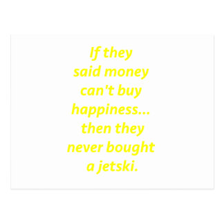 Money Can't Buy Happiness Jetski2 Yellow Green Pnk Postcard