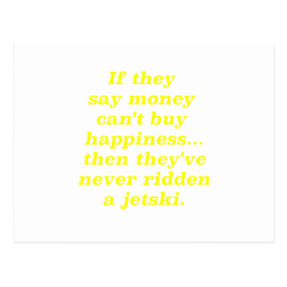Money can't Buy Happiness Jetski Yellow Green Pink Postcard