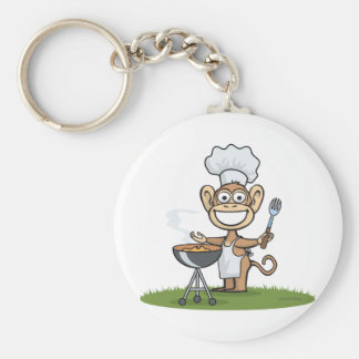 Monkey Barbecue Basic Round Button Key Ring