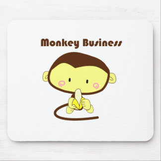 Monkey Business Brown and Yellow Chimp Cartoon Mouse Pad