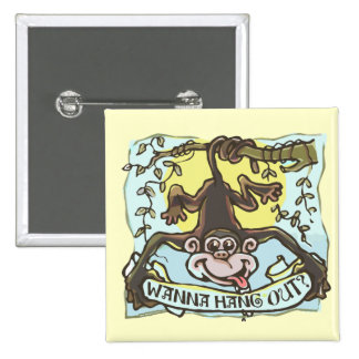 Monkey Hanging Out by Mudge Studios 15 Cm Square Badge