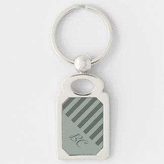 Monochromatic Jade Stripe Design Silver-Colored Rectangle Key Ring