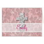 Monogram Black White Cross Girly pink Floral Lace Note Card