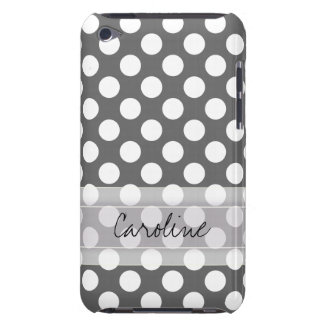 Monogram Charcoal Gray White Polka Dot Pattern iPod Touch Covers