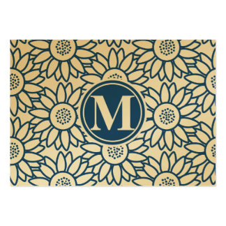Monogram Classic Blue Sunflower Pack Of Chubby Business Cards