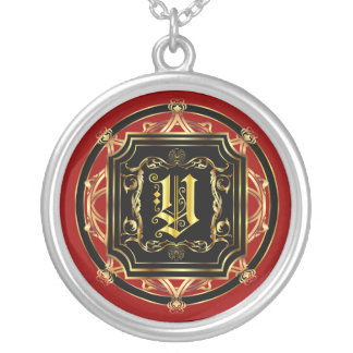 Monogram Classic Customize Edit Change Background Round Pendant Necklace