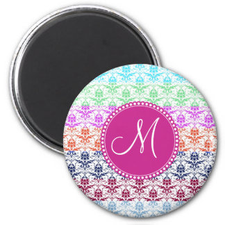 Monogram Elegant Rainbow Colorful Damask Fading Co 6 Cm Round Magnet