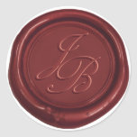 Monogram Elegant Script Red Wax Seal Wedding Round Sticker