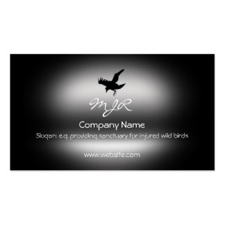Monogram, Flying Raven Bird, metallic-effect Pack Of Standard Business Cards