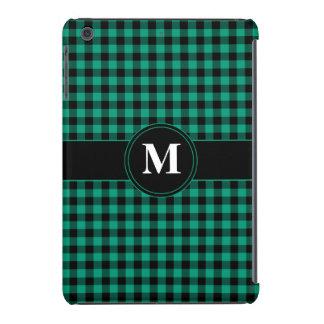 Monogram Green and Black Gingham checked iPad Mini Retina Cover