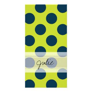 Monogram Green Navy Blue Chic Polka Dot Pattern Personalized Photo Card