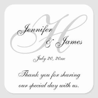 Monogram H Wedding Thank You Labels Stickers