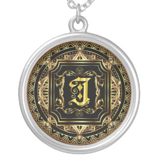 Monogram J Customize Edit Change Background Color Round Pendant Necklace