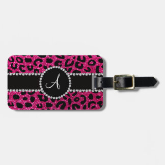 Monogram neon hot pink glitter cheetah pattern travel bag tags
