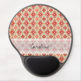 Monogram Pink Red Geo Tribal Ikat Diamond Pattern Gel Mouse Pad