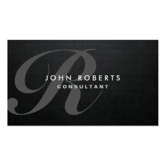 Monogram Professional Elegant Modern Black Metal Pack Of Standard Business Cards