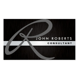 Monogram Professional Elegant Modern Metal Black Pack Of Standard Business Cards