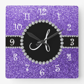 Monogram purple glitter diamond black circle clocks