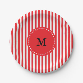 Monogram Red and White Stripes Pattern 7 Inch Paper Plate