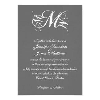 Monogram Wedding Invitations Charcoal Grey