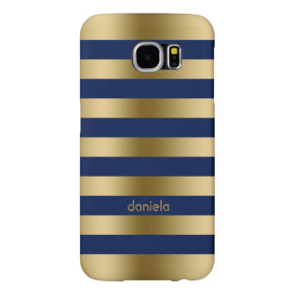 Monogramed Gold & Blue Stripes Geometric Pattern Samsung Galaxy S6 Cases