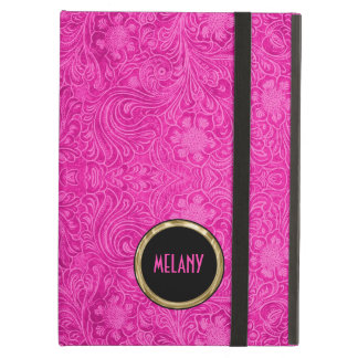 Monogramed Pink Suede Leather Look Floral Design iPad Air Cases
