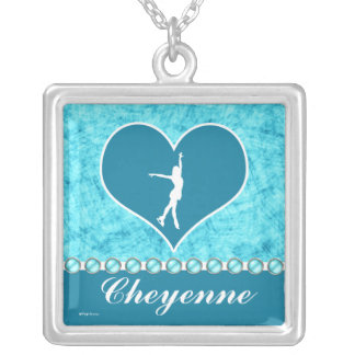 Monogrammed Beautiful Turquoise Figure Skater Square Pendant Necklace