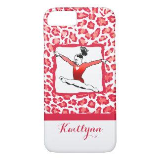 Monogrammed Cheetah Print Gymnastics in Red iPhone 7 Case