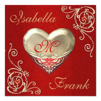 Monogrammed HEART Wedding or ANNIVERSARY  Invitati 13 Cm X 13 Cm Square Invitation Card