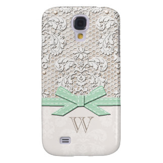 Monogrammed Mint Vintage Lace Pearl Galaxy S4 Case