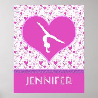 Monogrammed Pink Lots o' Hearts Gymnastics Poster
