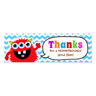 Monster Bash Favor Tag Birthday Party Pack Of Skinny Business Cards
