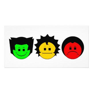Moody Stoplight Trio Faces Custom Photo Card