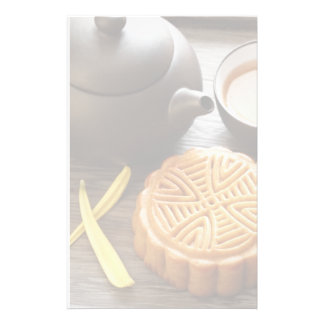 Mooncake and tea,Chinese mid autumn festival Stationery Paper