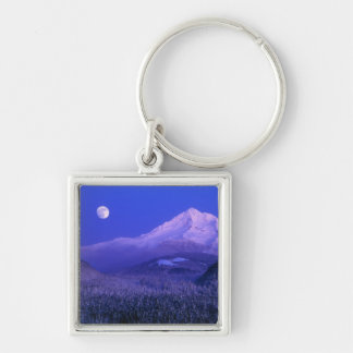 Moonrise over Mt Hood winter, Oregon Silver-Colored Square Key Ring