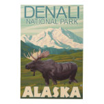 Moose Scene - Denali National Park, Alaska Wood Prints