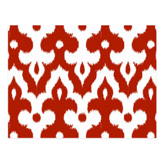 Moroccan Ikat Damask Pattern, Deep Red and White Postcard