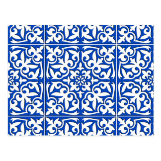 Moroccan tile - cobalt blue and white postcard
